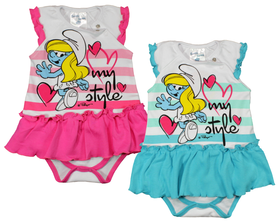 Short sleeve baby<br>body Smurfen