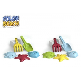 Zabawki do piasku - grabki, łopatka i foremki