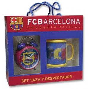 Zestaw - kubek + budzik FC Barcelona