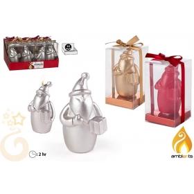 Świeczka świąteczna metaliczna św. Mikołaj - 3 kolory
