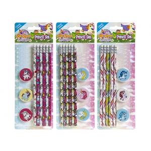 Zestaw szkolny: ołówki + gumki do mazania Jednorożec - wzór do wyboru