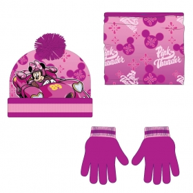Komplet: czapka jesienna / zimowa, komin i rękawiczki Myszka Minnie