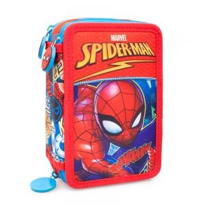 Piórnik trzykomorowy z wyposażeniem Spiderman