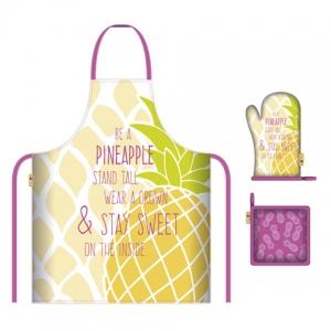 Zestaw kuchenny: fartuch, rękawica i podkładka Zaska – Ananas