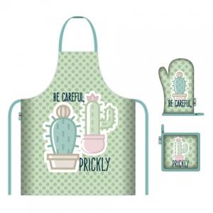 Zestaw kuchenny: fartuch, rękawica i podkładka Zaska – Kaktus