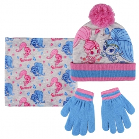 Komplet: czapka jesienna / zimowa, komin i rękawiczki Shimmer i Shine