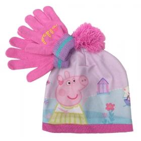Zestaw: czapka jesienna / zimowa i rękawiczki Świnka Peppa