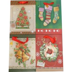 Torebka świąteczna 3d pionowa mała / mix wzorów