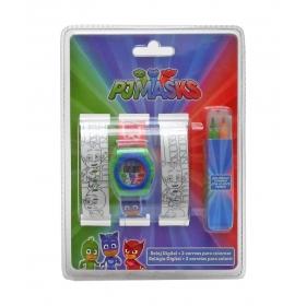 Zestaw: zegarek na rękę + dodatkowe paski do kolorowania Pidżamersi