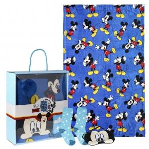 Zestaw prezentowy: koc polarowy, opaska na oczy i skarpetki Myszka Mickey