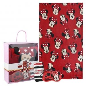 Zestaw prezentowy: koc polarowy, opaska na oczy i skarpetki Myszka Minnie