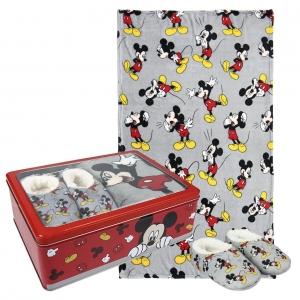 Zestaw prezentowy: koc polarowy, kapcie / pantofle i pudełko metalowe Myszka Mickey