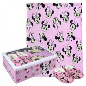 Zestaw prezentowy: koc polarowy, kapcie / pantofle i pudełko metalowe Myszka Minnie