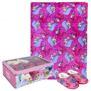 Zestaw prezentowy: koc polarowy, kapcie / pantofle i pudełko metalowe Shimmer i Shine