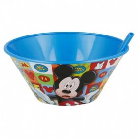 Miska plastikowa z wbudowaną słomką 500 ml Myszka Mickey