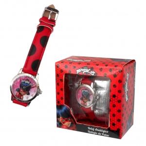 Zegarek na rękę w pudełku prezentowym Miraculum: Biedronka i Czarny Kot
